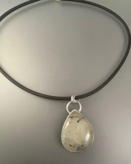 Black rutilated quartz necklace