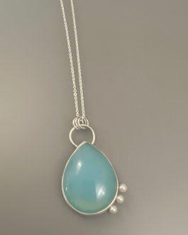 Calming blue smithsonite stone necklace