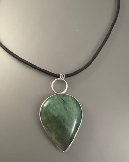 Dark green adventurine stone necklace