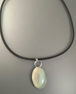 Two-tone blue chalcedony stone necklace